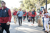 Stanford, CA - September 15, 2018: Stanford football team arrives before during the Stanford vs UC Davis football game Saturday at Stanford Stadium.<br /> <br /> The Cardinal scored 30. UC Davis 10.