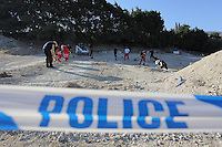 Pictured: Special forensics police officers search a field in Kos, Greece. Saturday 01 October 2016<br /> Re: Police teams led by South Yorkshire Police, searching for missing toddler Ben Needham on the Greek island of Kos have moved to a new area in the field they are searching.<br /> Ben, from Sheffield, was 21 months old when he disappeared on 24 July 1991 during a family holiday.<br /> Digging has begun at a new site after a fresh line of inquiry suggested he could have been crushed by a digger.
