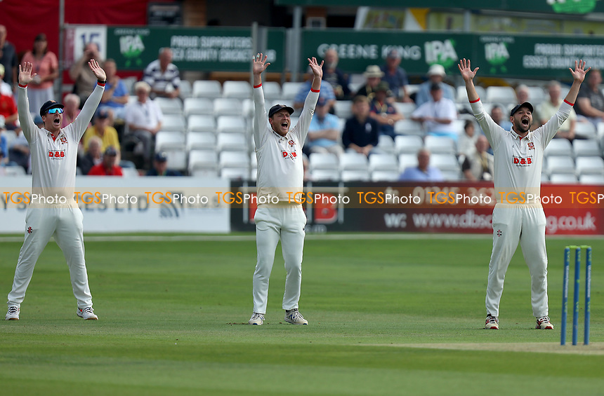 Simon Harmer (left), Tom Westley (centre) and Nick Browne (right) appeal for the wicket of Miles Hammond during Essex CCC vs Gloucestershire CCC, LV Insurance County Championship Division 2 Cricket at The Cloudfm County Ground on 5th September 2021