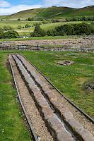 Northumberland,  England, UK.  Vindolanda Roman Fort.  Water Canal Bringing Water into the Fort.