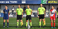 referee Christophe Windels with assistant referees Toon Bonduel and Jiri Bergs pictured with Pauline Windels (5) of Zulte Waregem and Lenie Onzia (8) of OH Leuven during a female soccer game between SV Zulte - Waregem and Oud Heverlee Leuven on the sixth matchday of the 2021 - 2022 season of Belgian Scooore Womens Super League , saturday 9 of October 2021  in Zulte , Belgium . PHOTO SPORTPIX   DIRK VUYLSTEKE