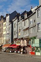 Harbour Side Restaurants and Bistro's. Honfleur, Normandy, France.