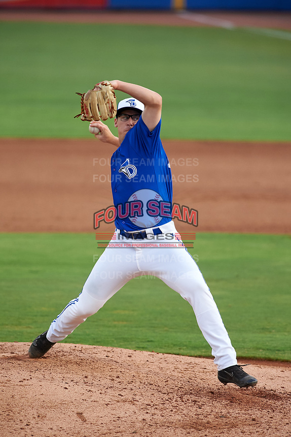 Dunedin Blue Jays relief pitcher Philip Walby (45) delivers a pitch during a game against the Bradenton Marauders on July 17, 2017 at Florida Auto Exchange Stadium in Dunedin, Florida.  Bradenton defeated Dunedin 7-5.  (Mike Janes/Four Seam Images)