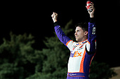 #11: Denny Hamlin, Joe Gibbs Racing, FedEx Office Toyota Camry celebrates his win
