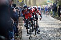 Tiesj Benoot (BEL/Lotto-Soudal) overtakes Daniel Oss (ITA/BMC) up the Taaienberg and thus forces a new, descisive breakaway to be formed<br /> <br /> 71st Omloop Het Nieuwsblad 2016
