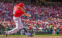 28 September 2014: Washington Nationals first baseman Tyler Moore connects against the Miami Marlins at Nationals Park in Washington, DC. The Nationals shut out the Marlins 1-0, caping the season with the first Nationals no-hitter in modern times. The win also notched a 96 win season for the Nats: the best record in the National League. Mandatory Credit: Ed Wolfstein Photo *** RAW (NEF) Image File Available ***