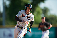 San Jose Giants designated hitter Gio Brusa (26) rounds third base during a California League game against the Modesto Nuts at John Thurman Field on May 9, 2018 in Modesto, California. San Jose defeated Modesto 9-5. (Zachary Lucy/Four Seam Images)