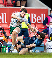 21st March 2021; AJ Bell Stadium, Salford, Lancashire, England; English Premiership Rugby, Sale Sharks versus London Irish; Theo Brophy Clews of London Irish is tackled by Sam James of Sale Sharks