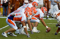 30 September 2006: The Sam Houston State offense prepares for a snap during the Bearkats 56-3 loss to the University of Texas Longhorns at Darrell K Royal Memorial Stadium in Austin, TX.