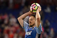 Harrison, NJ - Wednesday Feb. 22, 2017: Jordan Harvey during a Scotiabank CONCACAF Champions League quarterfinal match between the New York Red Bulls and the Vancouver Whitecaps FC at Red Bull Arena.