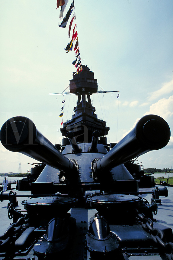 Silhouette of main turret guns on the Battleship Texas. Houston Texas, Battleship Texas.