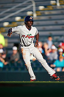 Fort Myers Miracle shortstop Nick Gordon (2) leads off first during a game against the Bradenton Marauders on April 9, 2016 at McKechnie Field in Bradenton, Florida.  Fort Myers defeated Bradenton 5-1.  (Mike Janes/Four Seam Images)