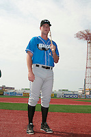 Hudson Valley Renegades infielder Casey Gillaspie (43) prior to game 1 of a double header against the Brooklyn Cyclones at MCU Park on July 8, 2014 in Brooklyn, NY.  Brooklyn defeated Hudson Valley 3-0.  (Tomasso DeRosa/Four Seam Images)