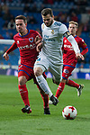 Real Madrid Nacho Fernandez and CD Numancia Pere Milla during King's Cup match between Real Madrid and CD Numancia at Santiago Bernabeu Stadium in Madrid, Spain. January 10, 2018. (ALTERPHOTOS/Borja B.Hojas)