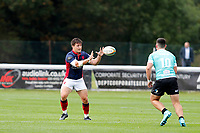 Matt Gordon of London Scottish receives the ball during the Championship Cup match between London Scottish Football Club and Nottingham Rugby at Richmond Athletic Ground, Richmond, United Kingdom on 28 September 2019. Photo by Carlton Myrie / PRiME Media Images