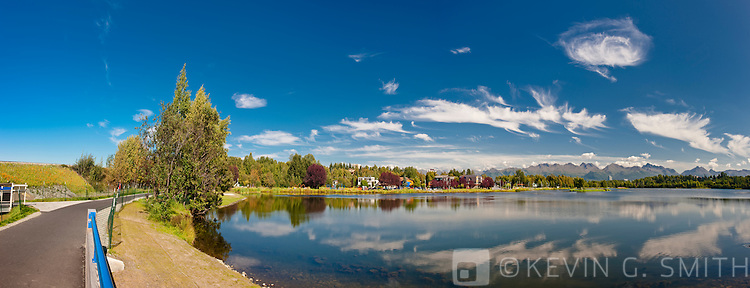 View over the Westchester lagoon, Tony Knowles Coastal Trail, summer, Southcental Alaska, USA.