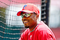 11 June 2006: Jimmy Rollins, shortstop for the Philadelphia Phillies, looks toward the batting cage prior to a game against the Washington Nationals at RFK Stadium, in Washington, DC. The Nationals shut out the visiting Phillies 6-0 to take the series three games to one...Mandatory Photo Credit: Ed Wolfstein Photo..