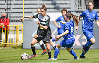 Justine Blave (22) of Eendracht Aalst pictured with Fleur Pauwels (66) of KRC Genk during a female soccer game between Eendracht Aalst and Racing Genk on the 10 th and last matchday of play off 2 of the 2020 - 2021 season of Belgian Scooore Womens Super League , Saturday 29 st of May 2021  in Aalst , Belgium . PHOTO SPORTPIX.BE | SPP | DAVID CATRY