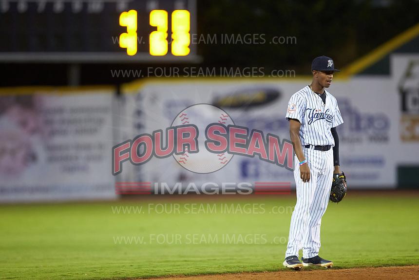 Pulaski Yankees shortstop Alexander Vargas (69) on defense against the Burlington Royals at Calfee Park on September 1, 2019 in Pulaski, Virginia. The Royals defeated the Yankees 5-4 in 17 innings. (Brian Westerholt/Four Seam Images)