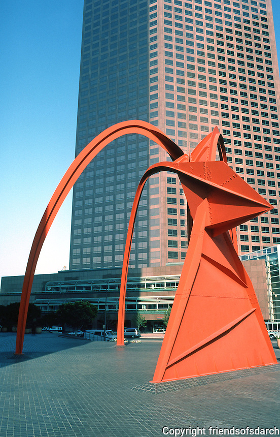 Los Angeles: Bunker Hill, Security Pacific Plaza, Stabile. Alexander Calder.  Photo '84.