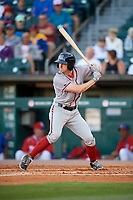 Syracuse Chiefs center fielder Andrew Stevenson (2) bats during a game against the Buffalo Bisons on July 6, 2018 at Coca-Cola Field in Buffalo, New York.  Buffalo defeated Syracuse 6-4.  (Mike Janes/Four Seam Images)