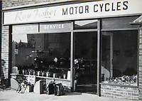BNPS.co.uk (01202 558833)<br /> Pic: RayFisher/BNPS<br /> <br /> Pictured: Ray Fisher Motor Cycles in 1959.<br /> <br /> Tireless Ray Fisher still works full-time in the motorcycle shop he opened 62 years ago - and he has plenty left in the tank.<br /> <br /> The 85 year old founded Ray Fisher's Brickbits in Christchurch, Dorset, in 1959 after training as a bike mechanic.<br /> <br /> It is a family affair as his two children Gerry, 58, and Stephanie, 54, have both worked solely for him since leaving school aged 16.<br /> <br /> Ray said he had loved bikes since childhood and learnt how to repair them while doing national service in the early 1950s.