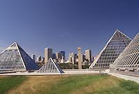 AJ3629, Edmonton, Alberta, Muttart Conservatory, Canada, Muttart Conservatory consists of five pyramid-shaped greenhouses in Edmonton in the province of Alberta. Skyline of Edmonton in the distance.