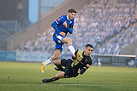 Noah Chilvers, Colchester United fires his shot wide of goal under pressure from Josh Hmami, Marine AFC during Colchester United vs Marine, Emirates FA Cup Football at the JobServe Community Stadium on 7th November 2020