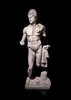 Roman statue of  Dioscuri. Marble. Perge. 2nd century AD. Inv no 2014/175. Antalya Archaeology Museum; Turkey. Against a black background.