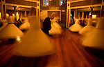 Turkey, Istanbul. The Whirling Dervishes, Sema performance at the Galata Mevlevihanesi
