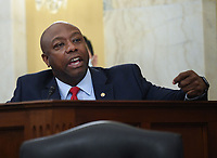 United States Senator Tim Scott (Republican of South Carolina) speaks at the US Senate Small Business and Entrepreneurship Hearings to examine implementation of Title I of the CARES Act on Capitol Hill in Washington, DC on Wednesday, June 10, 2020.  <br /> Credit: Kevin Dietsch / Pool via CNP/AdMedia