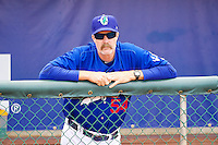 Ogden Raptors Manager Jack McDowell (54) prior to the game against the Orem Owlz in Pioneer League action at Lindquist Field  on June 27, 2014 in Ogden, Utah.  This game was rain-delayed from June 26, 2014.  (Stephen Smith/Four Seam Images)