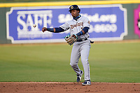 Second baseman Abiezel Ramirez (2) of the Charleston RiverDogs in a game against the Columbia Fireflies on Tuesday, May 11, 2021, at Segra Park in Columbia, South Carolina. (Tom Priddy/Four Seam Images)