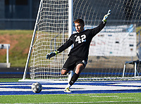 NWA Democrat-Gazette/CHARLIE KAIJO Rogers High School goalkeeper Anthony Garcia (42) kicks the ball to center field during a soccer game, Friday, April 26, 2019 at  Whitey Smith Stadium at Rogers High School in Rogers.