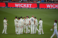 The Black Caps celebrate the dismissal of Shamarh Brooks during day three of the second International Test Cricket match between the New Zealand Black Caps and West Indies at the Basin Reserve in Wellington, New Zealand on Sunday, 13 December 2020. Photo: Dave Lintott / lintottphoto.co.nz