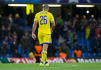 Tal Ben Haim I(former Chelsea player) of Maccabi Tel Aviv as his team end the game 4-0 down during the UEFA Champions League match between Chelsea and Maccabi Tel Aviv at Stamford Bridge, London, England on 16 September 2015. Photo by Andy Rowland.