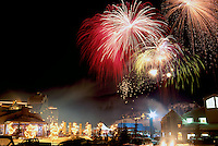 Fireworks Display and Celebration on New Year's Eve at Whistler Blackcomb Resort, British Columbia, Canada