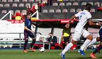 GUADALAJARA, MEXICO - MARCH 28: Sam Vines #13 of the United States moves with the ball along the sideline during a game between Honduras and USMNT U-23 at Estadio Jalisco on March 28, 2021 in Guadalajara, Mexico.