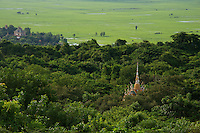 View from Phnom Sampeou near the killing caves, rural Battambang area,Cambodia Killing caves at Phnom Sampeau a Khmer Rouge, execution, site, near Battambang, Cambodia