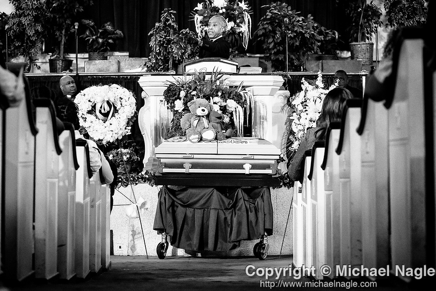 Al Sharpton delivers the eulogy at the funeral for one year-old Davell Gardner Jr. at Pleasant Grove Tabernacle on July 27, 2020 in the Brooklyn borough of New York City.  Gardner was shot and killed earlier this month during a cookout in front of his home along with three others.  Photograph by Michael Nagle