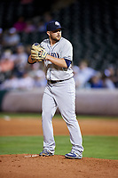 Colorado Springs Sky Sox relief pitcher David Goforth (32) gets ready to deliver a pitch during a game against the Oklahoma City Dodgers on June 2, 2017 at Chickasaw Bricktown Ballpark in Oklahoma City, Oklahoma.  Colorado Springs defeated Oklahoma City 1-0 in ten innings.  (Mike Janes/Four Seam Images)