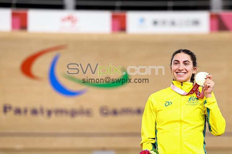Picture by Alex Whitehead/SWpix.com - Tokyo 2020 Paralympics - 25/08/2021 - Track Cycling - Izu Velodrome, Izu, Japan - Paige Greco (C3) of Australia wins Gold in the Women's C1-3 3000m Individual Pursuit Final.