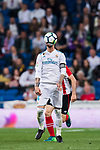 Sergio Ramos of Real Madrid in action during the La Liga 2017-18 match between Real Madrid and Athletic Club Bilbao at Estadio Santiago Bernabeu on April 18 2018 in Madrid, Spain. Photo by Diego Souto / Power Sport Images