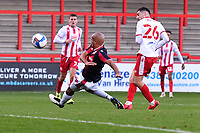 Tom Pett of Stevenage FC scores and pulls one back  during Stevenage vs Bolton Wanderers, Sky Bet EFL League 2 Football at the Lamex Stadium on 21st November 2020