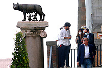 One of the candidates mayor of Rome at the next elections Carlo Calenda, under the Capitoline wolf, the symbol of Rome, during a conference in the Giulio Cesare hall of the Campidoglio. <br /> Rome (Italy), September 15th 2021<br /> Photo Samantha Zucchi Insidefoto
