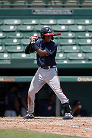 GCL Braves Kadon Morton (5) at bat during a Gulf Coast League game against the GCL Orioles on August 5, 2019 at Ed Smith Stadium in Sarasota, Florida.  GCL Orioles defeated the GCL Braves 4-3 in the second game of a doubleheader.  (Mike Janes/Four Seam Images)
