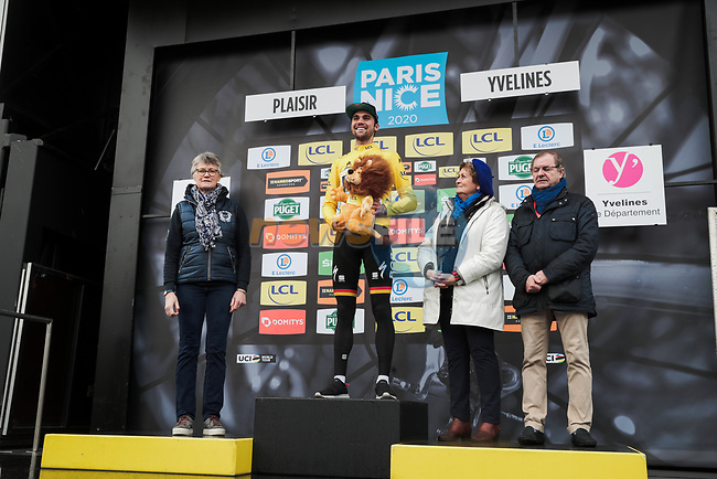 German Champion Maximilian Schachmann (GER) Bora-Hansgrohe wins Stage 1 and takes the first leaders Yellow Jersey of the 78th edition of Paris-Nice 2020, running 154km from Plaisir to Plaisir, France. 8th March 2020.<br /> Picture: ASO/Fabien Boukla | Cyclefile<br /> All photos usage must carry mandatory copyright credit (© Cyclefile | ASO/Fabien Boukla)