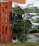 Ally McCoist hiding in the bushes at training.