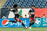 FOXBOROUGH, MA - AUGUST 7: Isaac Angking #5 of New England Revolution II takes a shot during a game between Orlando City B and New England Revolution II at Gillette Stadium on August 7, 2020 in Foxborough, Massachusetts.