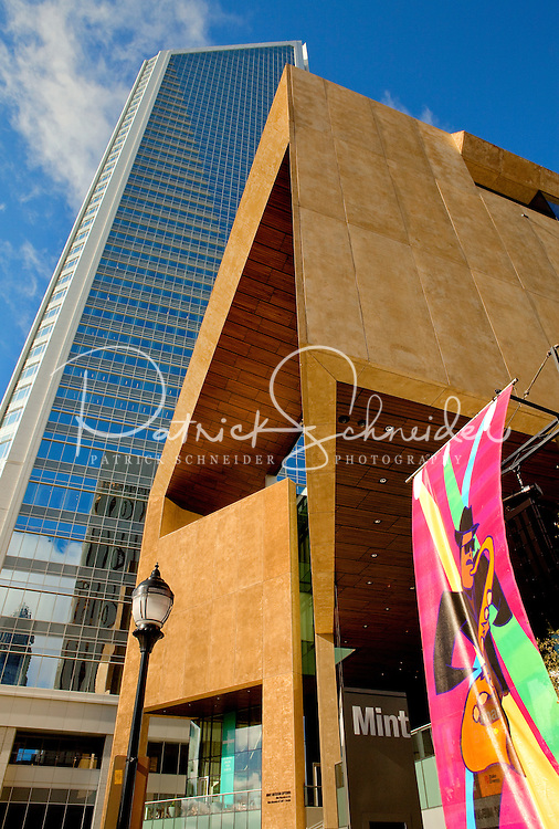Charlotte NC's Mint Museum uptown with the Duke Energy headquarters behind.